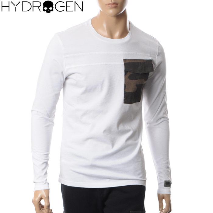 ハイドロゲン HYDROGEN クルーネックTシャツ 長袖 メンズ 215106 ホワイト