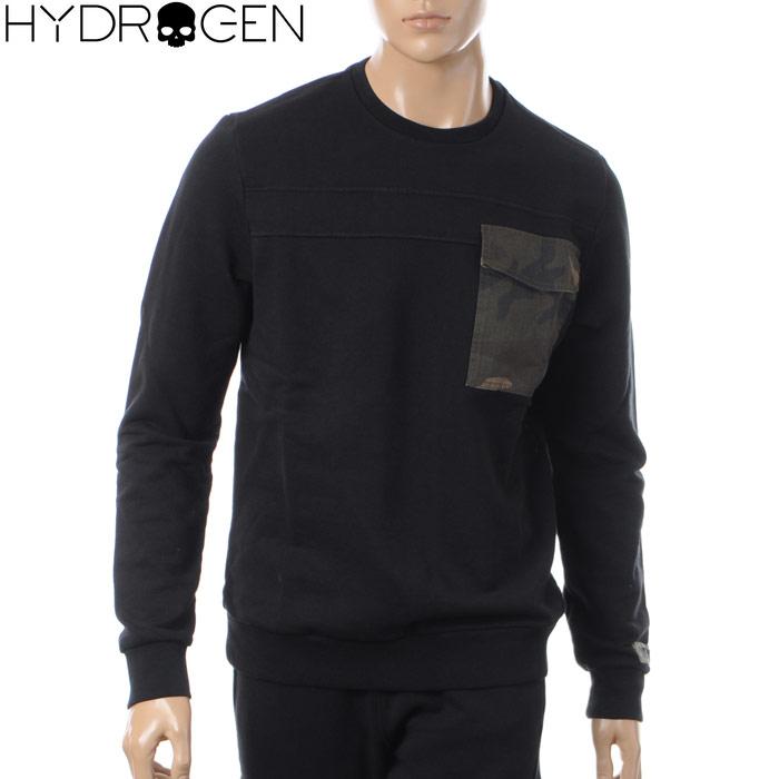 ハイドロゲン HYDROGEN クルーネックスウェット トレーナー メンズ 215100 ブラック 2017秋冬セール