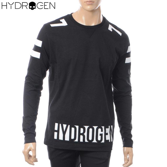 ハイドロゲン HYDROGEN クルーネックTシャツ 長袖 メンズ 220609 ブラック