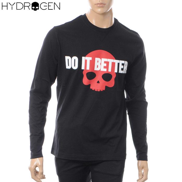 ハイドロゲン HYDROGEN クルーネックTシャツ 長袖 メンズ 220617 ブラック
