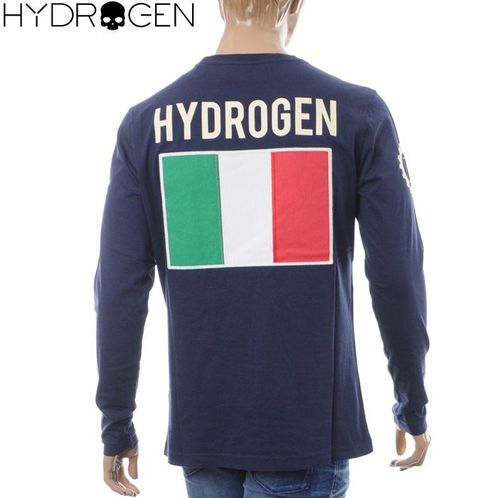 ハイドロゲン HYDROGEN クルーネックTシャツ 長袖 メンズ GARAGE ITALIA CUSTOMS T-SHIRT LS LG0009 ネイビー 2018秋冬新作