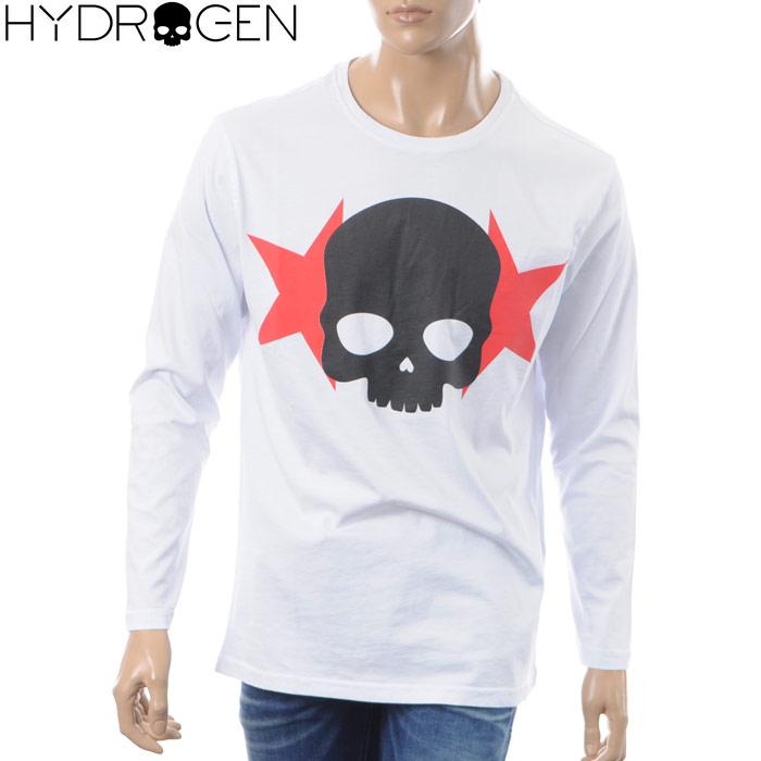 ハイドロゲン HYDROGEN クルーネックTシャツ 長袖 メンズ ICON STARS TEES LS 230057 ホワイト 2018秋冬新作