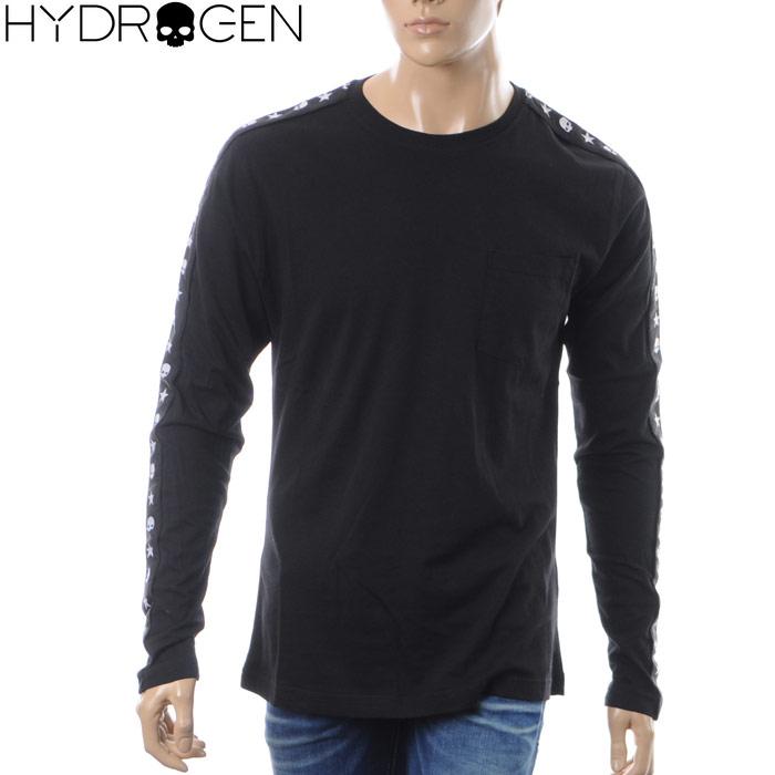 ハイドロゲン HYDROGEN クルーネックTシャツ 長袖 メンズ STRIPES TEES LS 230613 ブラック 2018秋冬新作