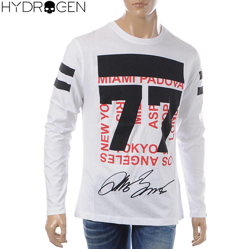 ハイドロゲン HYDROGEN クルーネックTシャツ 長袖 メンズ 240629 ホワイト