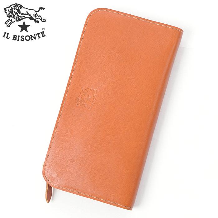 イルビゾンテ IL BISONTE ラウンドファスナーレザー長財布 小銭入れ付 C0909P ライトブラウン