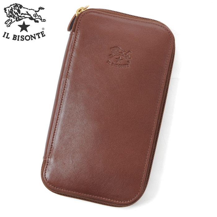 イルビゾンテ IL BISONTE ラウンドファスナーレザー長財布 小銭入れ付 C0442P ブラウン