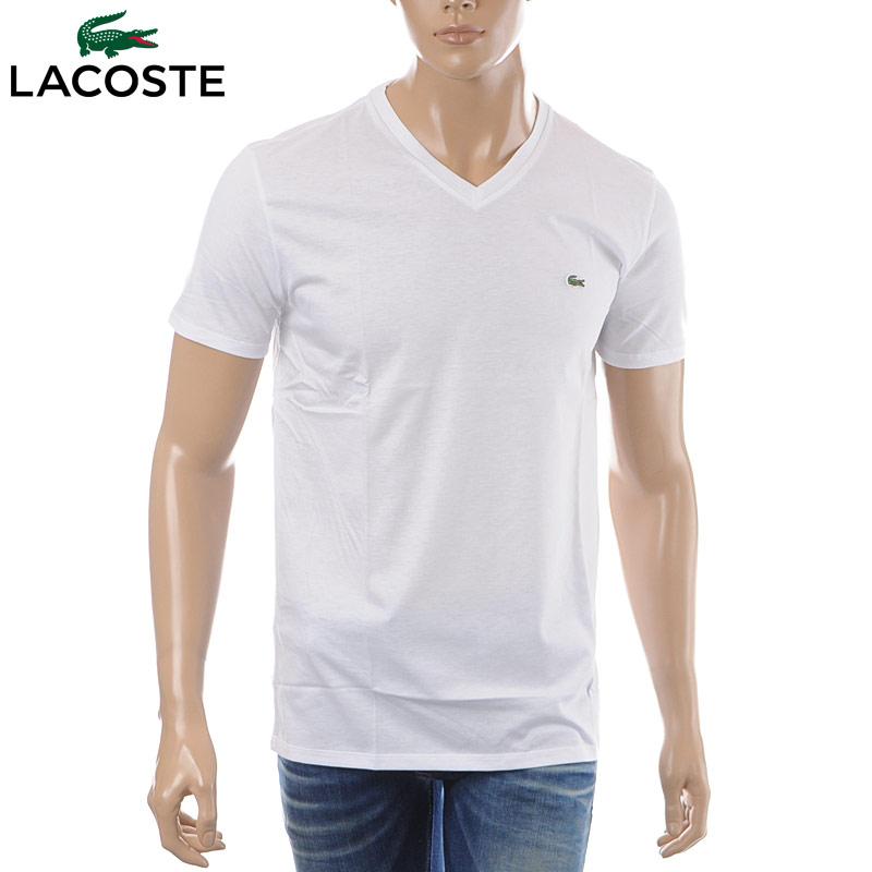 ラコステ LACOSTE VネックTシャツ 半袖 メンズ TH6710 ホワイト