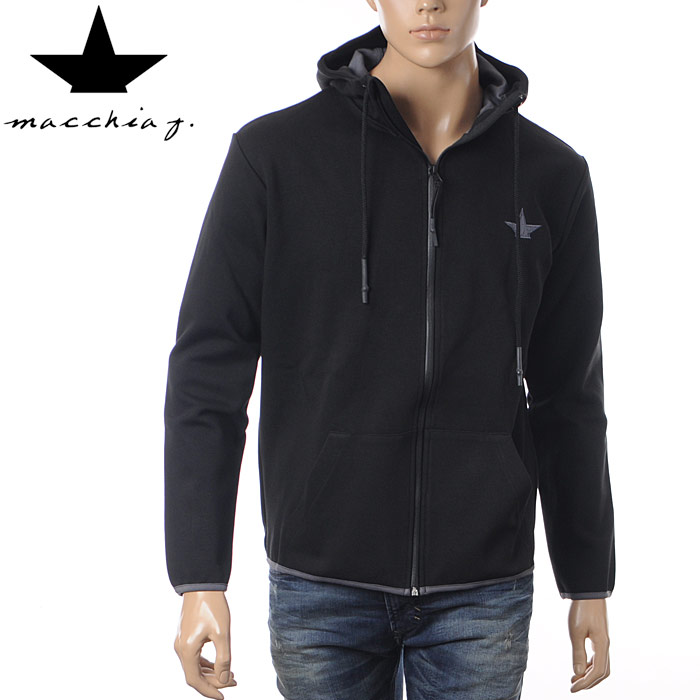 マッキアジェイ Macchia J ジップアップパーカー スウェット メンズ FMF1624 ブラック