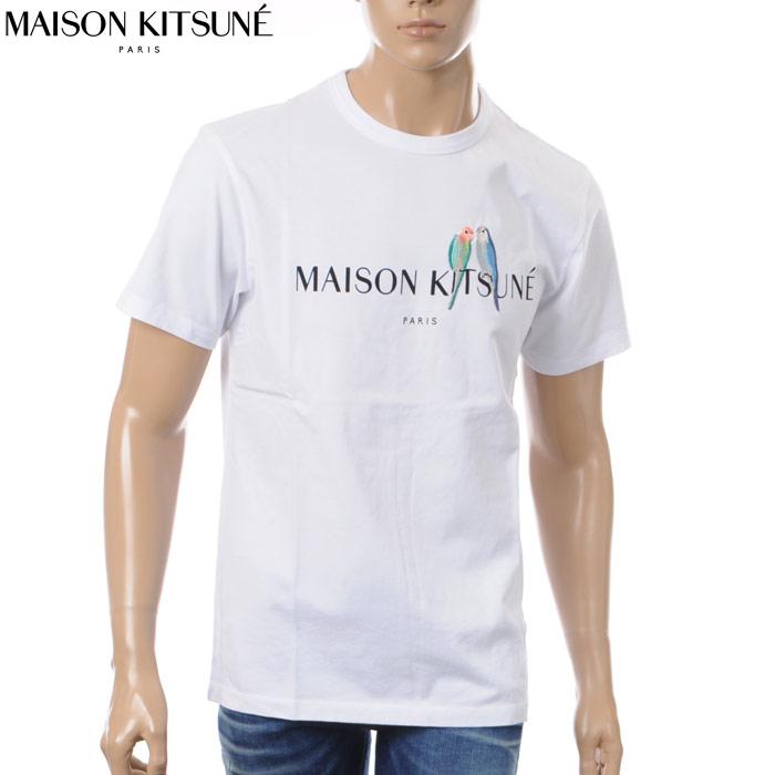 メゾンキツネ MAISON KITSUNE クルーネックTシャツ 半袖 メンズ 0117AT1501 ホワイト 2018春夏セール