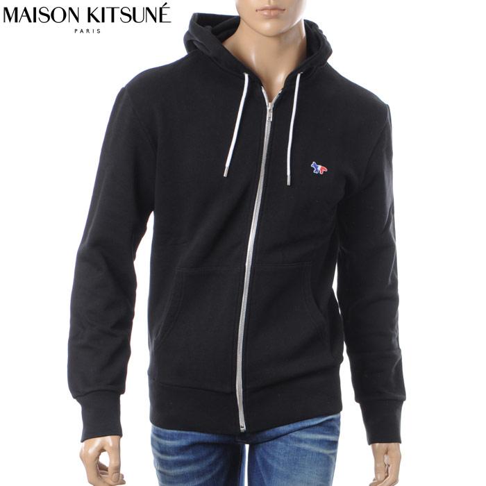 メゾンキツネ MAISON KITSUNE ジップアップパーカー スウェット メンズ 0304AT1503 ブラック