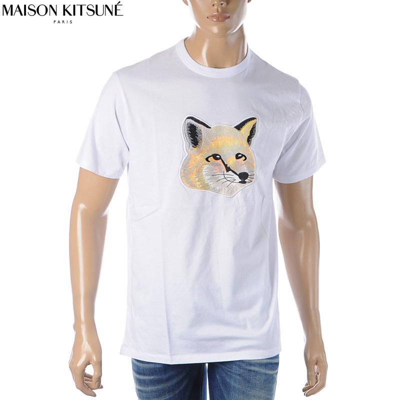 メゾンキツネ MAISON KITSUNE クルーネックTシャツ 半袖 メンズ EM00153KJ0010 ホワイト 2020春夏新作