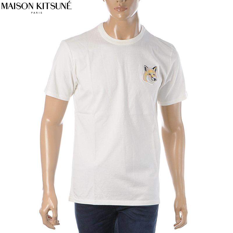 メゾンキツネ MAISON KITSUNE クルーネックTシャツ 半袖 メンズ EM00154KJ0008 オフホワイト 2020春夏新作