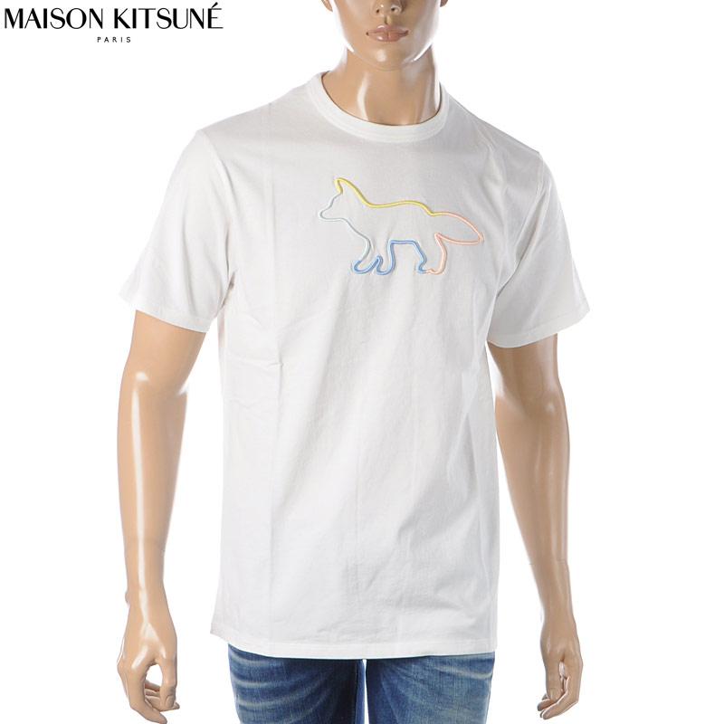 メゾンキツネ MAISON KITSUNE クルーネックTシャツ 半袖 メンズ EM00155KJ0010 オフホワイト 2020春夏新作