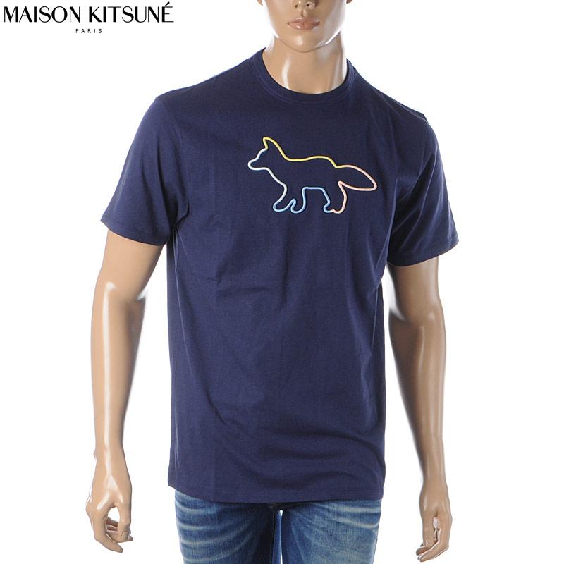 メゾンキツネ MAISON KITSUNE クルーネックTシャツ 半袖 メンズ EM00155KJ0010 ネイビー 2020春夏新作