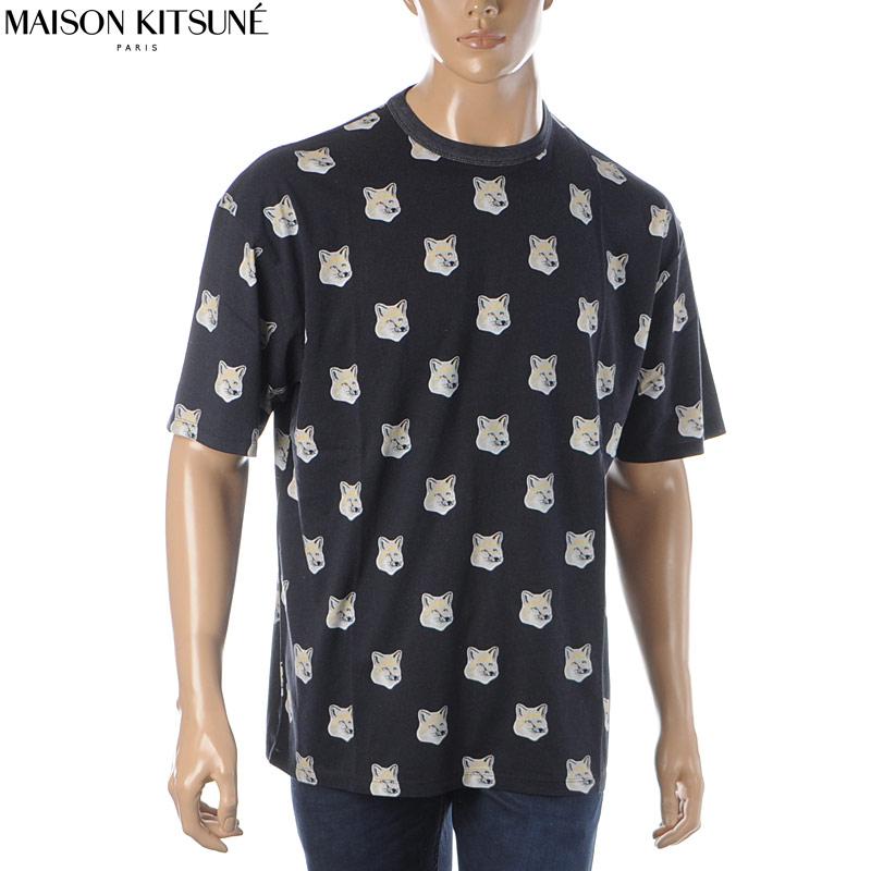 メゾンキツネ MAISON KITSUNE クルーネックTシャツ 半袖 メンズ EU00139KJ0010 ブラック 2020春夏新作