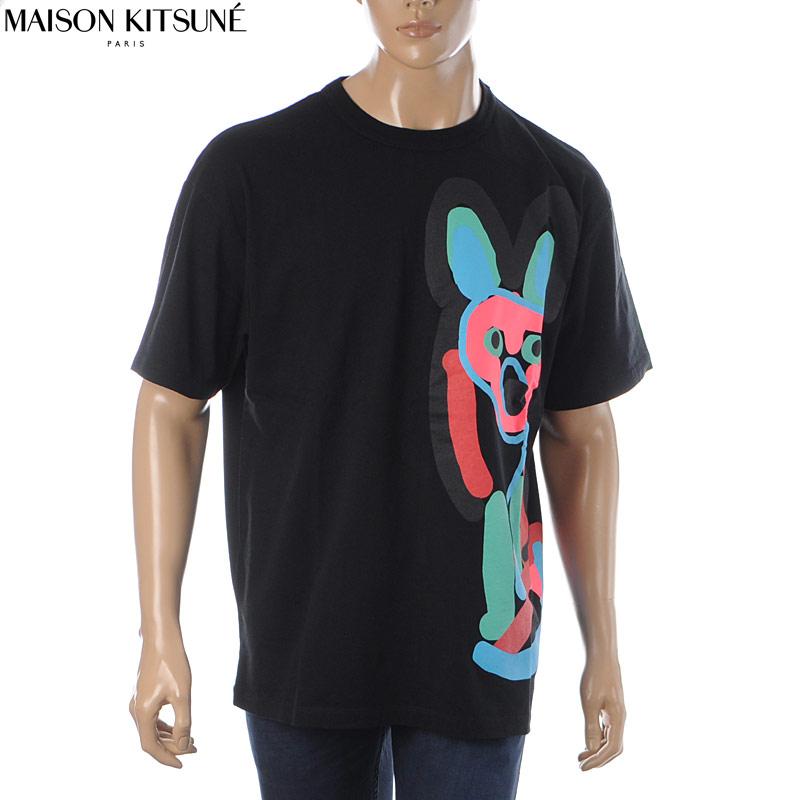 メゾンキツネ MAISON KITSUNE クルーネックTシャツ 半袖 メンズ EU00172KJ0050 ブラック 2020春夏新作