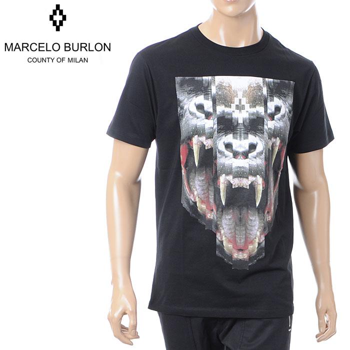 マルセロバーロン MARCELO BURLON メンズ クルーネック Tシャツ 半袖 ブラック CMAA018F16001010