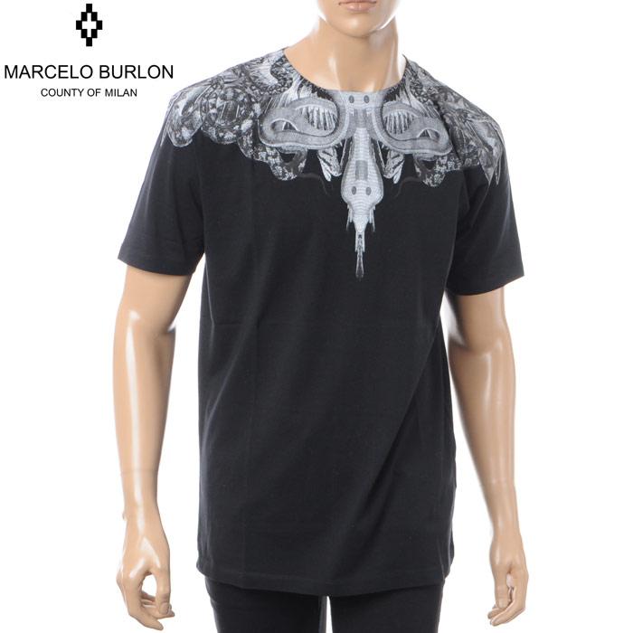 マルセロバーロン MARCELO BURLON クルーネックTシャツ 半袖 メンズ CMAA018S180010101088 ブラック