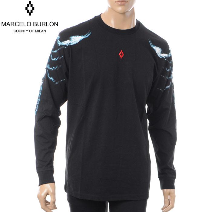 マルセロバーロン MARCELO BURLON クルーネックTシャツ 長袖 メンズ CMAB007S180010281088 ブラック
