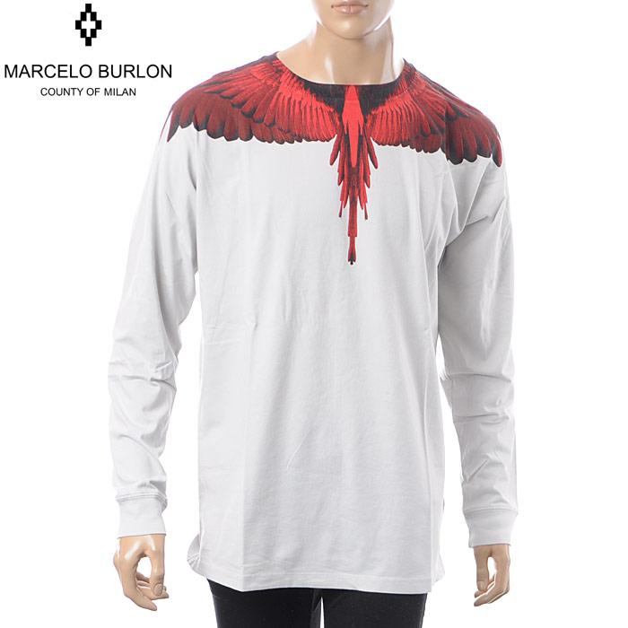 マルセロバーロン MARCELO BURLON クルーネックTシャツ 長袖 メンズ WINGS T-SHIRT L/S CMAB007E18001001 ライトグレー 2018秋冬新作