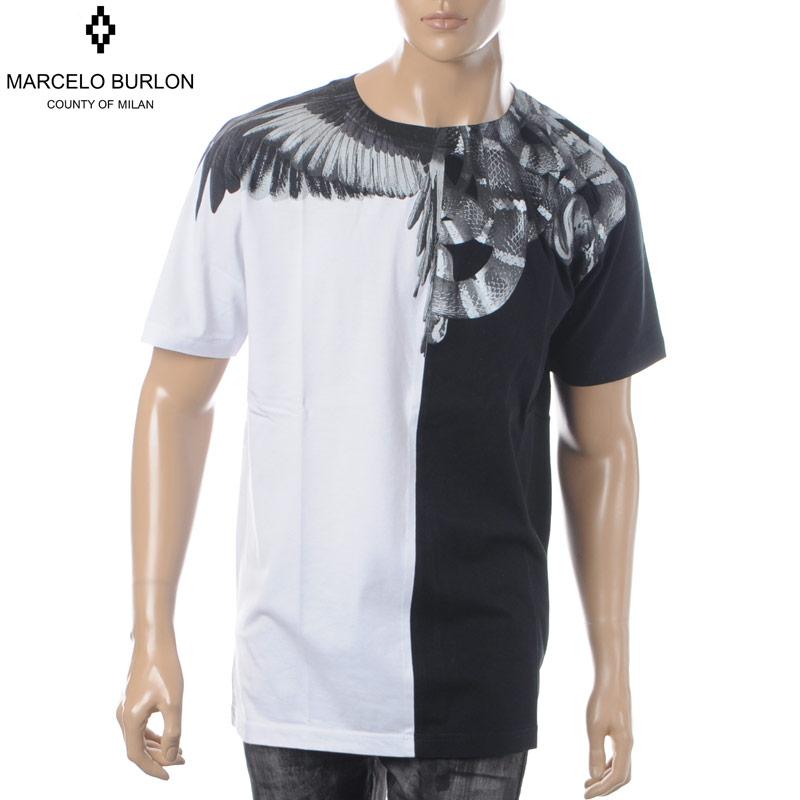 マルセロバーロン MARCELO BURLON クルーネックTシャツ 半袖 メンズ WINGS SNAKES T-SHIRT CMAA018R190010201091 ブラック×ホワイト