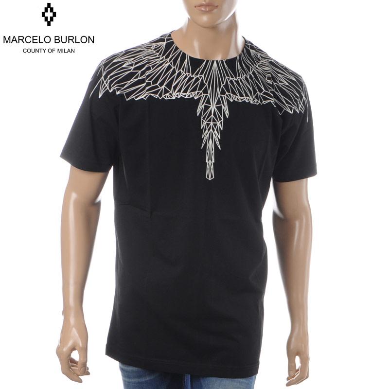マルセロバーロン MARCELO BURLON クルーネックTシャツ 半袖 メンズ NEON WINGS T-SHIRT CMAA018S190010261031 ブラック