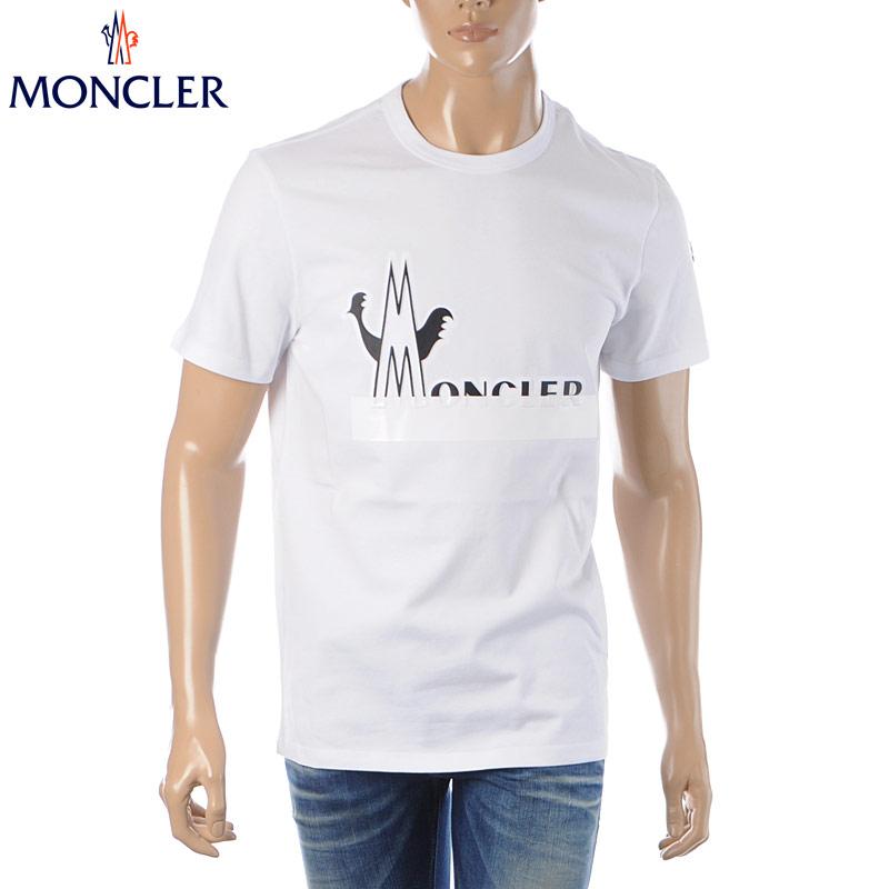 モンクレール MONCLER クルーネックTシャツ 半袖 メンズ 8C70910 8390T ホワイト 2020春夏新作