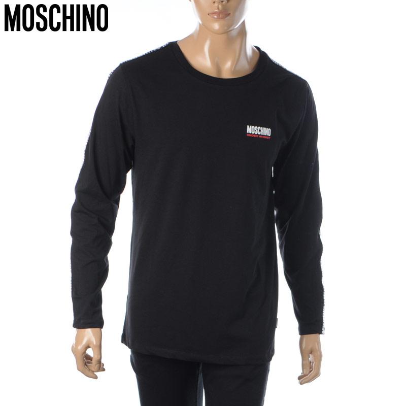 モスキーノ MOSCHINO UNDERWEAR Tシャツ メンズ ブランド ロンT 8131 クルーネック A1802 ブラック 長袖 ランキングTOP10 2021春夏セール 販売期間 限定のお得なタイムセール