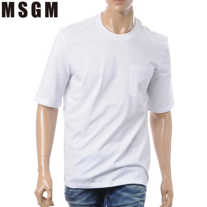 エムエスジーエム MSGM クルーネックTシャツ 半袖 メンズ 2440MM71 ホワイト