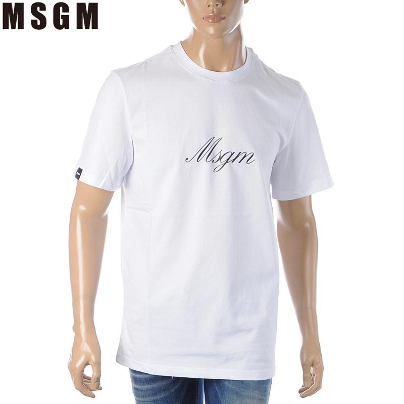エムエスジーエム MSGM クルーネックTシャツ 半袖 メンズ 2840MM237 207098 ホワイト 2020春夏新作