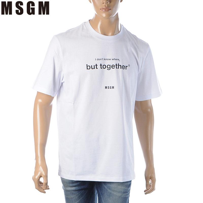エムエスジーエム MSGM スピード対応 全国送料無料 未使用 Tシャツ メンズ 半袖 217098 ホワイト ブランド 3040MM182 クルーネック