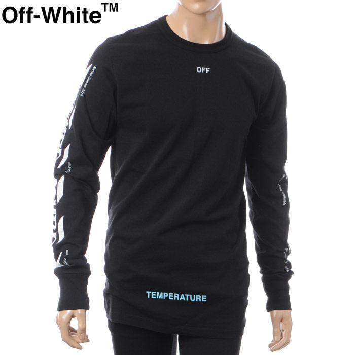 オフホワイト OFF WHITE クルーネックTシャツ 長袖 メンズ OMAB001S181850531001 ブラック 2018春夏セール