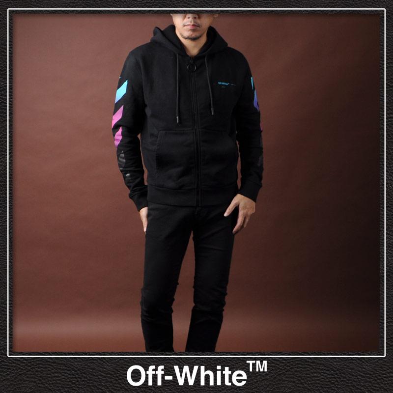 オフホワイト OFF WHITE ジップアップパーカー メンズ BLACK GRADIENT ZIPPED HOODIE OMBE001F18192005 ブラック