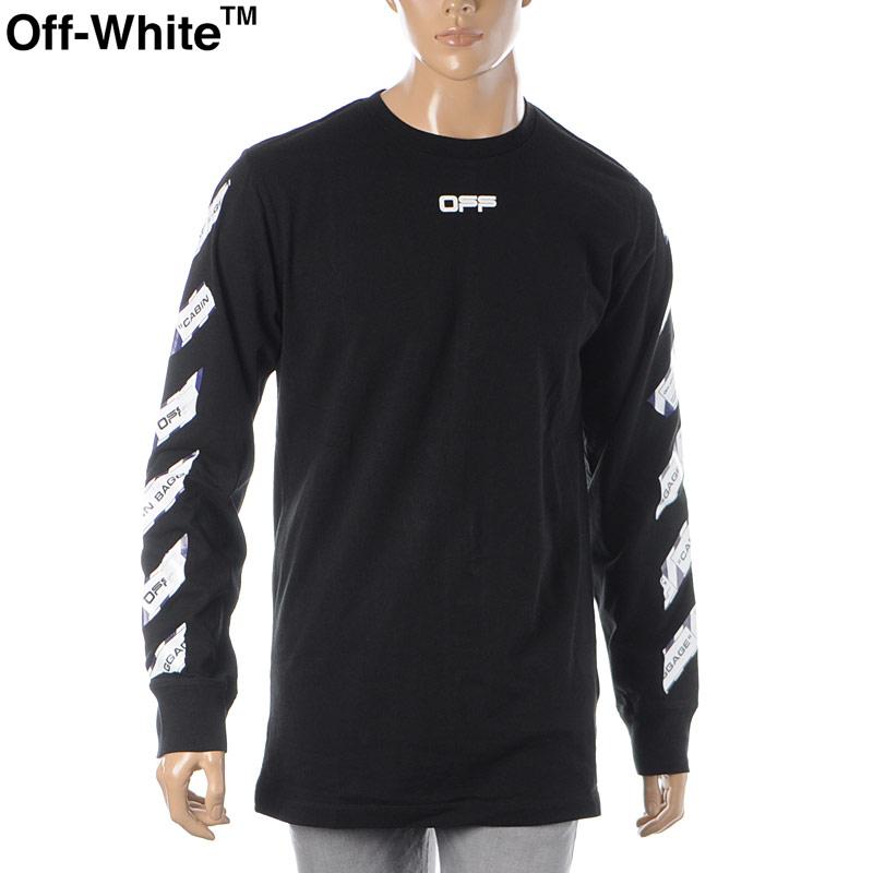 オフホワイト OFF WHITE クルーネックTシャツ 長袖 メンズ AIRPORT TAPE L/S TEE OMAB001S20185003 ブラック 2020春夏新作