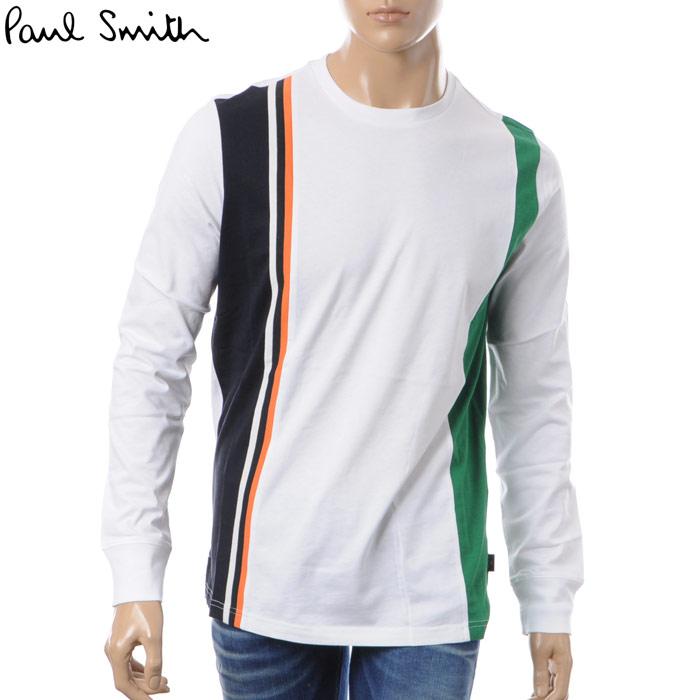 ポールスミス PAUL SMITH クルーネックTシャツ 長袖 メンズ PUXD 031S 720 ホワイト 2018春夏セール