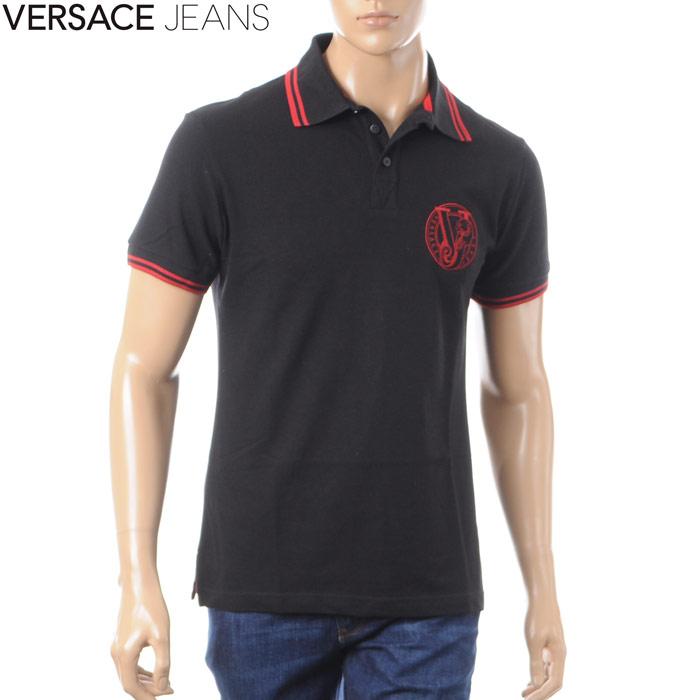 ヴェルサーチジーンズ VERSACE JEANS ポロシャツ 半袖 メンズ B3GRA7P1 36571 ブラック 2018春夏セール