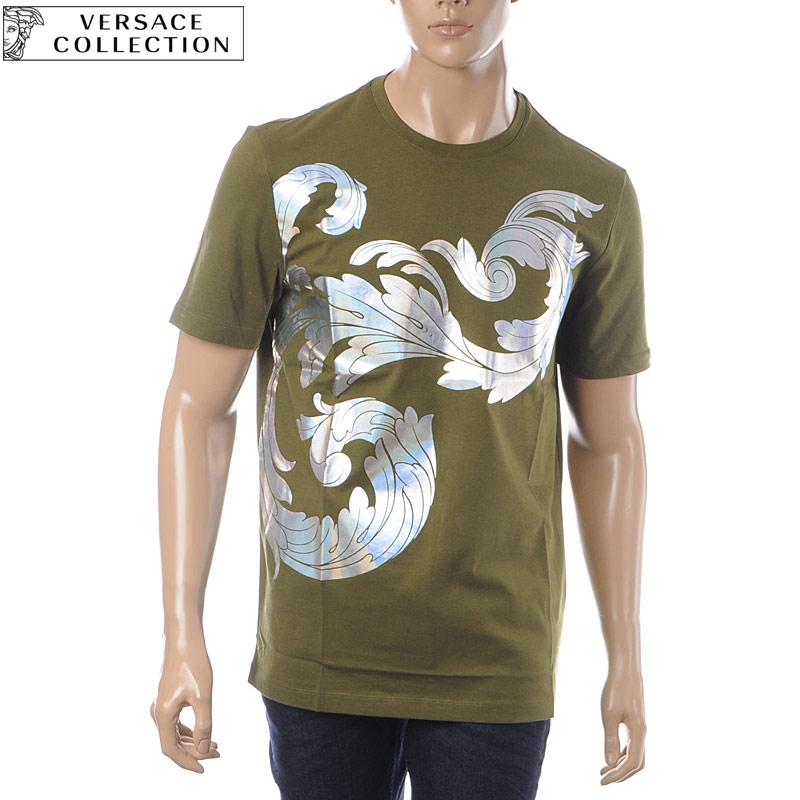 ヴェルサーチ コレクション VERSACE COLLECTION クルーネックTシャツ 半袖 メンズ V800683R VJ00566 カーキ
