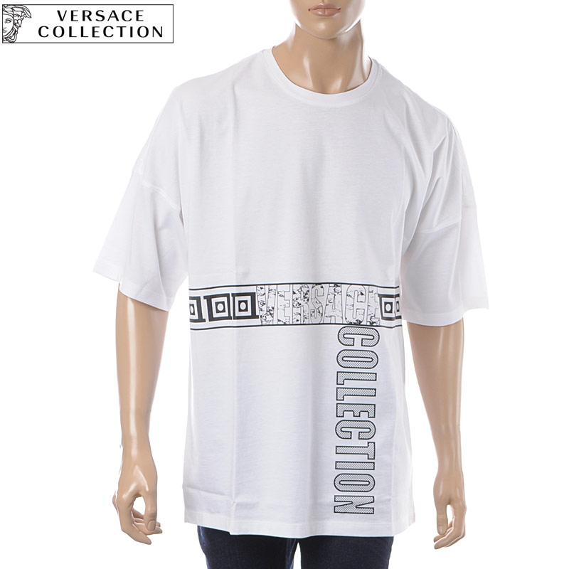 ヴェルサーチ コレクション VERSACE COLLECTION クルーネックTシャツ 半袖 メンズ V800853B VJ00576 ホワイト