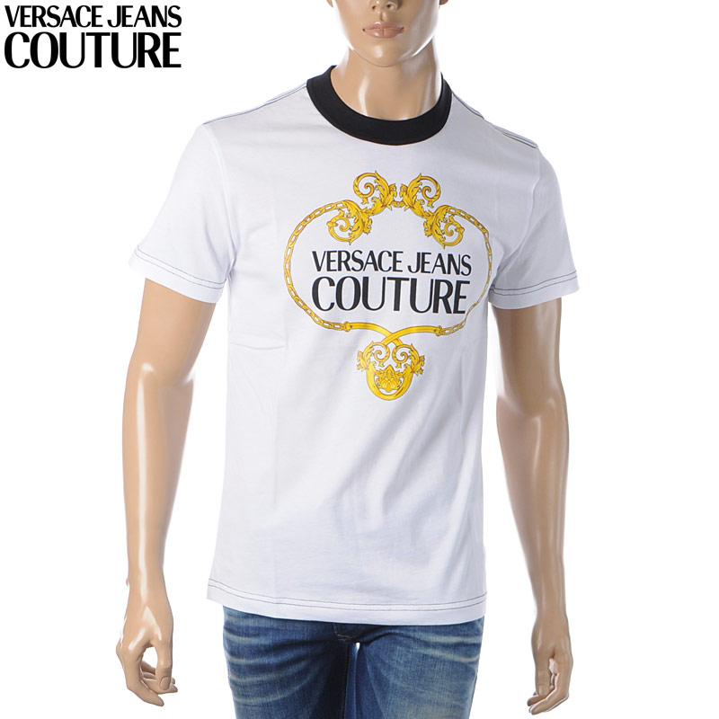 ヴェルサーチ ジーンズ クチュール VERSACE JEANS COUTURE クルーネックTシャツ 半袖 メンズ B3GVA7EB 30311 ホワイト 2020春夏新作
