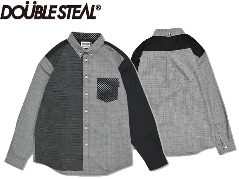 DOUBLE STEAL DOUBLESTEAL ダブルスティール 長袖シャツ ボタンシャツ ドット柄 カジュアル シャツ Black Mix B.D Shirt 796-35034 ブラック 黒 ミックス ストリート系 スト系 OLLIE SAMURAI オーリー サムライ