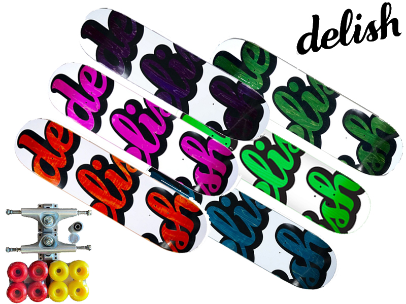 DELISH デリッシュ コンプリート 完成品 デッキ deck 板 Vertical Script スケートボード スケボーブランド デッキ ウィール ワイド 太い 大きい 板 トラック ベアリング セット 大人 大人用 大人サイズ 初心者 中級者