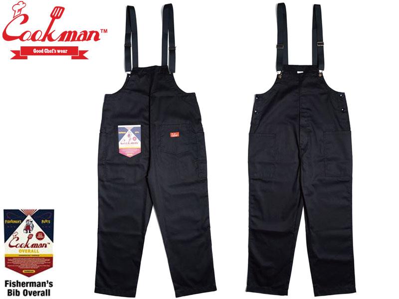 【Cookman】 Fisherman's Bib Overall Black メンズ レディース ユニセックス 男女兼用 サロペット カジュアル ルーズ ワイド オーバー 胴付 コックマン 無地 くろ 黒 S M L XL 231-01867 クックマン フィッシャーマン ビブ オーバーオール
