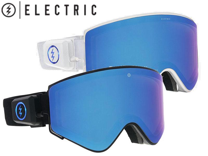 ELECTRIC エレクトリック 日本正規品 スノーゴーグル スノーボード スノボー ELECTRON EG7618101 EG7618102 BLUE CHROME LED テクノロジー 平面 充電式 レンズカラー変更 ASIAN FIT アジアンフィット 送料無料 BLACK WHITE