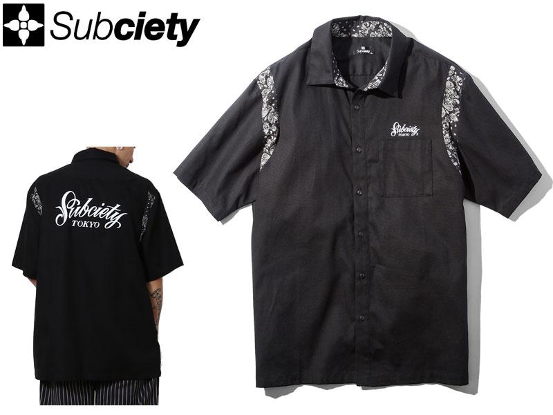 【Subciety サブサエティ】サブサエティー 半袖シャツ ボタンシャツ ワークシャツ ロゴ 刺繡 LOGO WORK SHIRT - Primal - 108-22364 ストリートファッション L XL
