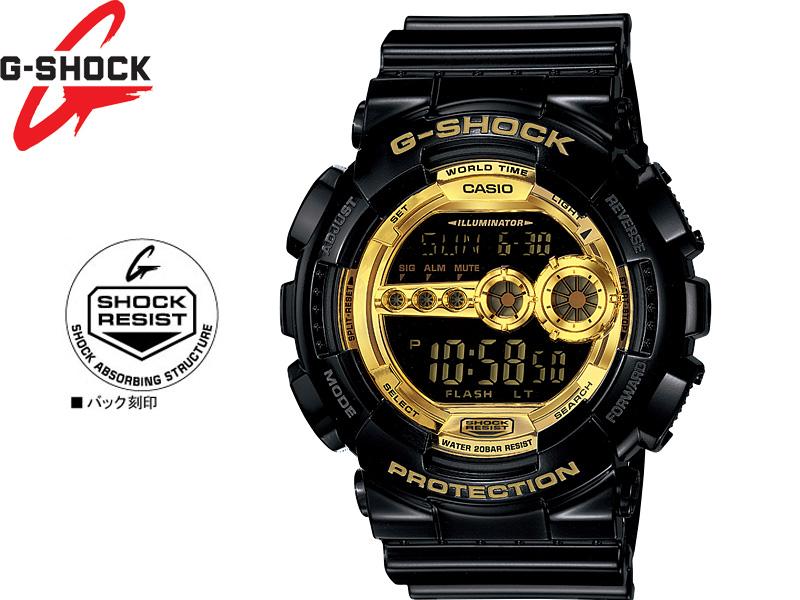 送料無料 沖縄 離島及び一部地域を除く G-SHOCK G SHOCK GSHOCK 早割クーポン ジーショック CASIO 世界の人気ブランド カシオ Gショック ギフト GD-100GB-1JF ゴールドシリーズ Black Gold 防水 ブラック Series 腕時計