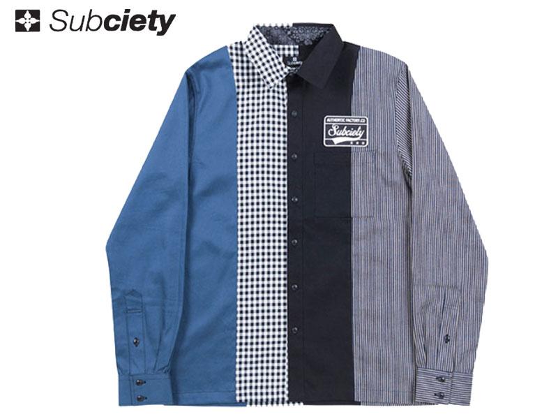 【Subciety サブサエティ】 長袖シャツ ボタンシャツ ワークシャツ エンブレムシャツ SBF7443 EMBLEM SHIRTS L/S-LIMITED MODEL-ストリートファッション OLLIE SAMURAI オーリー サムライ