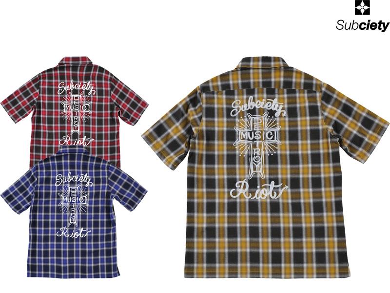Subciety サブサエティ 半袖シャツ チェックシャツ ワークシャツ ペイズリー シャツ ボタンシャツ SBF1482 EMBROIDERY CHECK SHIRT S/S -MUSIC DESTROY- ストリート ファッション OLLIE SAMURAI オーリー サムライ