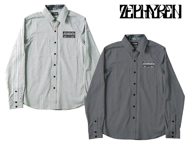 【ZEPHYREN ゼファレン】 EMBLEM-SHIRT L/S シャツ 長袖シャツ ボタンシャツ トップス ストリートファッション ZEF1122