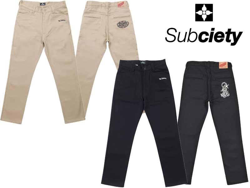 Subciety サブサエティ ワークパンツ WORK PANTS -CLASSIC-EMBROIDERY SBB8443 パンツ ボトムス チノパン 送料無料 BLACK/PRAYING HANDS