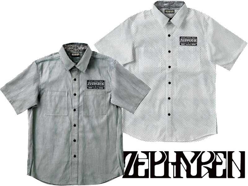 【ZEPHYREN ゼファレン】 Z16UC01 EMBLEM SHIRT S/S シャツ 半袖 星柄 ストライプ ボタンシャツ トップス ストリート